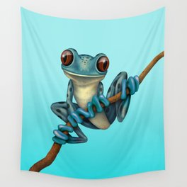 Cute Blue Tree Frog on a Branch Wall Tapestry