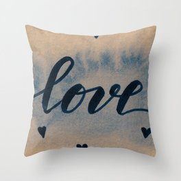 Valentine's Day Watercolor Love – neutral Throw Pillow