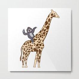 Giraffe Sloth  Friendship Gift T-Shirt Metal Print