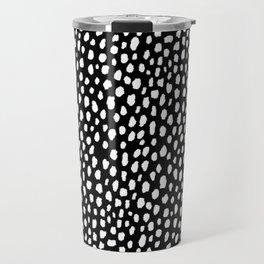 Handmade polka dot brush strokes (black and white reverse dalmatian) Travel Mug