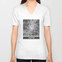 austin V-neck T-shirts featuring Austin map by Map Map Maps
