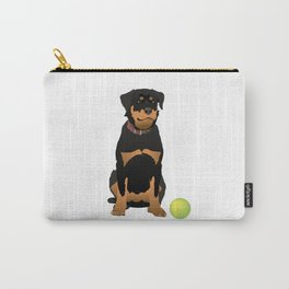 Friendly Rottweiler with Green Ball Carry-All Pouch