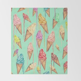 melted ice creams Throw Blanket