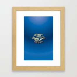 Faux Real - Blue - This is Not Typography Framed Art Print
