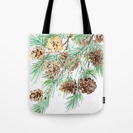 pine cones watercolor Tote Bag