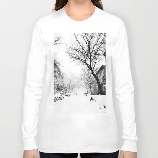 New York City At Snow Time Black and White Long Sleeve T-shirt