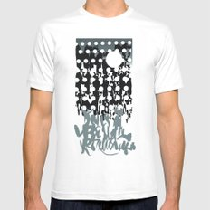 grey calligraphy (screen print) MEDIUM Mens Fitted Tee White