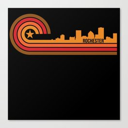 Retro Style Rochester New York Skyline Canvas Print