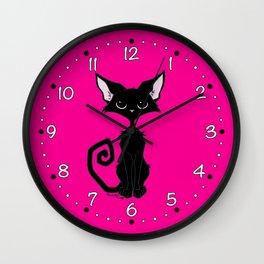 Black Cat - Hot Pink Wall Clock