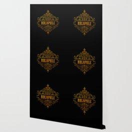 Gold Bibliophile on Black Wallpaper