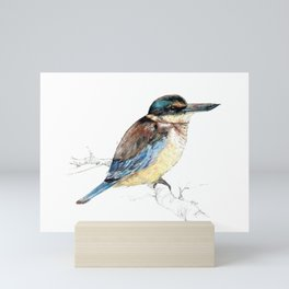Mr Kōtare, New Zealand native kingfisher bird Mini Art Print