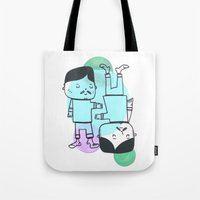 best friends Tote Bags featuring Best Friends by Silva Ware by Walter Silva