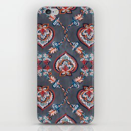 Floral Ogees in Red & Blue on Grey iPhone Skin