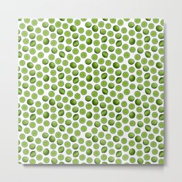 Dancing Green Limes on White Metal Print
