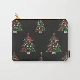 Made of paw print Christmas tree. Christmas and Happy new year seamless fabric design pattern background Carry-All Pouch