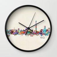 dc Wall Clocks featuring Washington dc skyline by bri.buckley