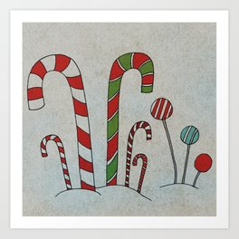 Candy in Snow Art Print