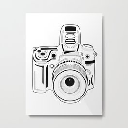 Black and White Camera Metal Print