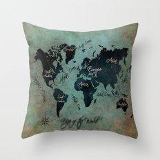 World Map text Throw Pillow