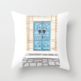 Blue Door with Black Decorations Throw Pillow