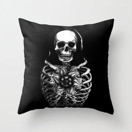 Matryoshka Skelton Doll - black Throw Pillow