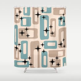 Retro Mid Century Modern Abstract Pattern 227 Blue and Beige Shower Curtain