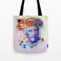 pablo picasso Tote Bags featuring Pablo Picasso by Steve W Schwartz Art