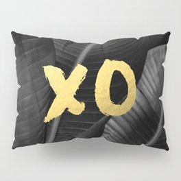 XO gold - bw banana leaf Pillow Sham