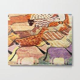 Vintage African Animal Rug Print Metal Print
