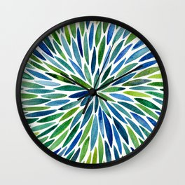 Watercolor Burst – Blue & Green Wall Clock