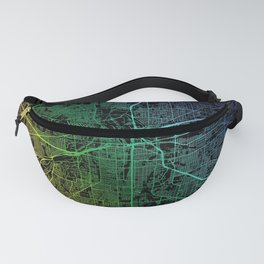 Fort Worth TX USA Rainbow City Map Fanny Pack