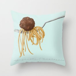 Spaghetti and Meatball Illustration by Deb Jeffrey Throw Pillow