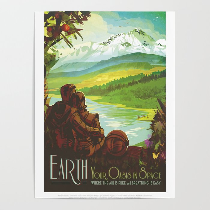 Earth Retro Space Poster Poster