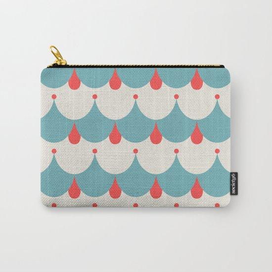 Retro. Blue and white . Carry-All Pouch