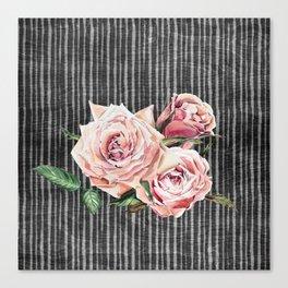 Watercolor Flowers on Dark Burned Wood Canvas Print