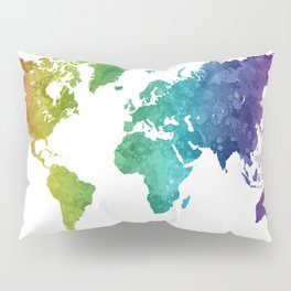 World map in watercolor rainbow Pillow Sham