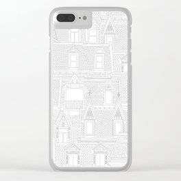 Montreal roofs black on white Clear iPhone Case