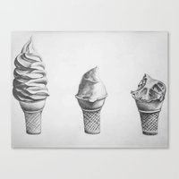 icecream Canvas Prints featuring icecream by Carly Teitelbaum