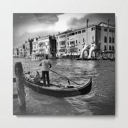 Gondola on the Grand Canal, Venice Metal Print