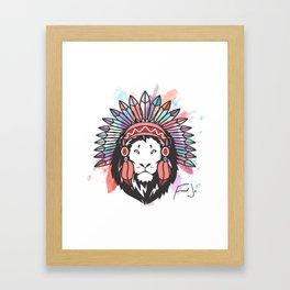 White Indian Lion Framed Art Print