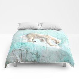 Polar bear on thin ice Comforters