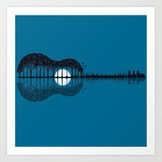 Trees sea and the moon turned guitar Art Print