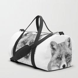 Black and White Fox Duffle Bag