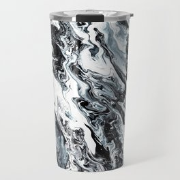 Marble in Black and White Travel Mug