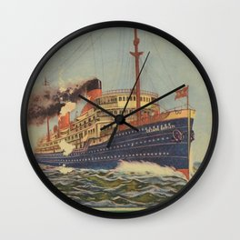 Transatlantica Italiana Vintage Travel Poster Wall Clock