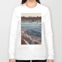 cracked Long Sleeve T-shirts featuring Cracked ice. by Mikhail Zhirnov