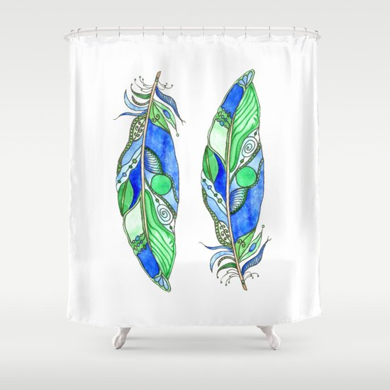 Bohemian Spirit Feathers - Blue & Green Shower Curtain