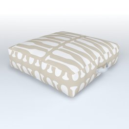Paddles Pattern in Neutral Beige Outdoor Floor Cushion