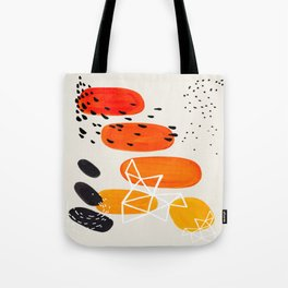Fun Mid Century Modern Abstract Minimalist Yellow To orange Ombre Stacked Pebbles Tote Bag