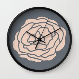 Rose Vintage Rose Pink on Pebble Gray Wall Clock